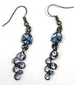 Distributor fashion jewelry gifts supplier wholeale black sterling silver blue cz fish hook earring
