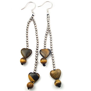 Online jewelry gift store supply beaded chain heart shape tiger's eye earring