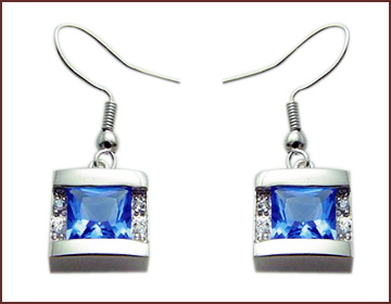 Lady's discount jewelry store online supply sapphire square shape earrings