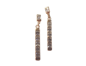 Long pole cz earring form costume jewelry import distributor