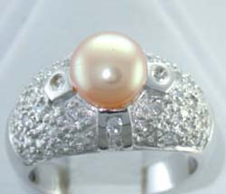Fashion wedding ring online wholesale fresh water pearl ring