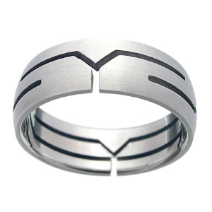 People jewelry catalog online supply silver ring with curved line pattern