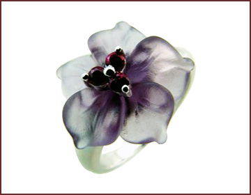 Wholesale distributor jewelry China importer supply purple flower ring